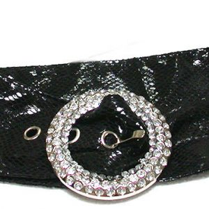 Cruelty-Free-Vegan-Faux-Snake-Leather-Black-BeltRound-Rhinestones-Buckle-Petite-360463811435