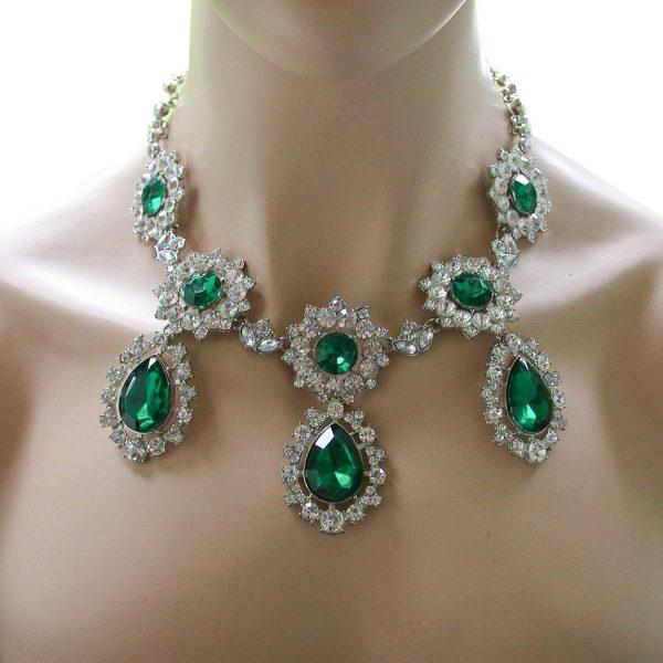 Emerald Green Rhinestones Victorian Statement Necklace,Pageant,Drag Queen