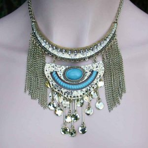 Ethnic-Inspired-Gold-Tone-Fringe-Necklace-Jewelry-Set-Blue-Lucite-Rhinestones-361426768605