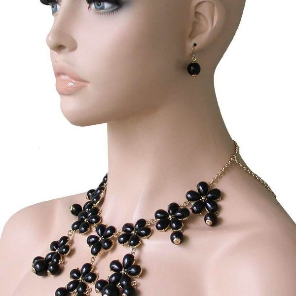 Flower Shape Bib Statement Lucite Beads Necklace & Earrings Drag Queen, Pageant