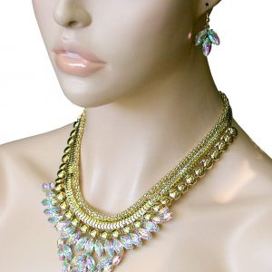 Gold-Tone-Aurora-Borealis-Acrylic-Necklace-Earrings-PageantDrag-QueenBridal-362071469395