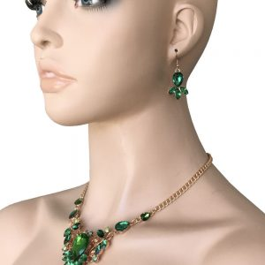 Gold-Tone-Designer-Inspired-Green-Iridescent-Lucite-Beads-Necklace-Earring-Set-362074523275