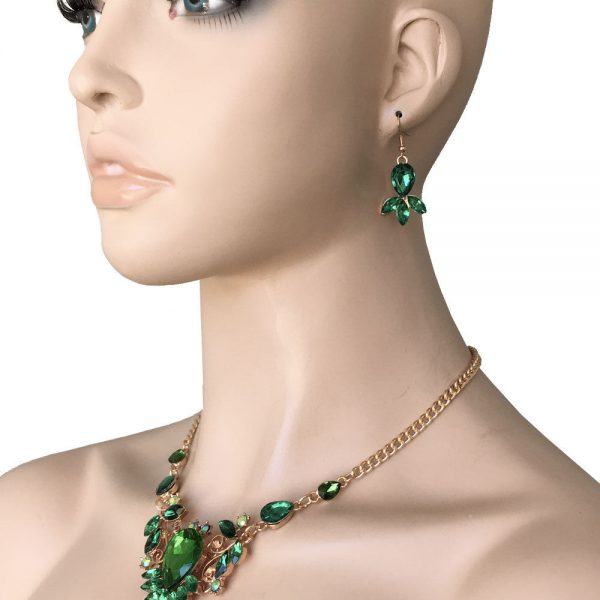 Gold Tone Designer Inspired Green & Iridescent Lucite Beads Necklace Earring Set