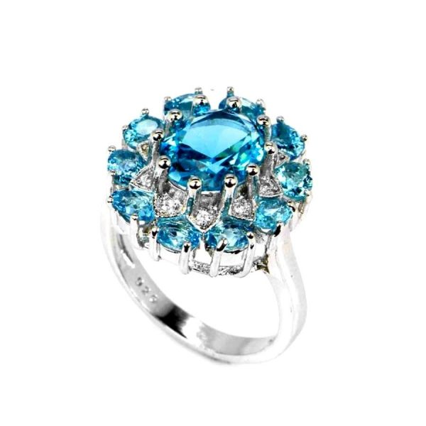 Lab Created Intense Blue Aquamarine Cluster Ring, 925 Sterling Silver Size 7