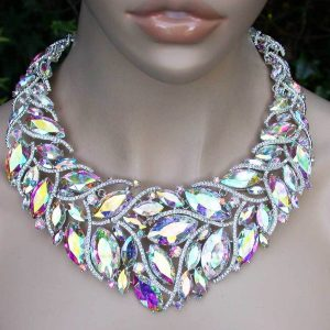 Luxurious-Acrylic-Aurora-Borealis-Statement-Necklace-Pageant-Drag-QueenBridal-361560112845