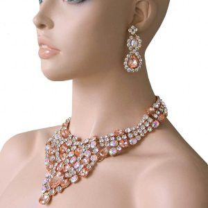 Peach-Glass-AB-Crystals-Statement-Bib-Necklace-Pageant-Drag-Queen-Bridal-172383873655