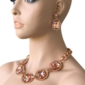 Peach-Glass-Statement-Evening-Necklace-EarringsPageant-Drag-Queen-Bridal-362012849255