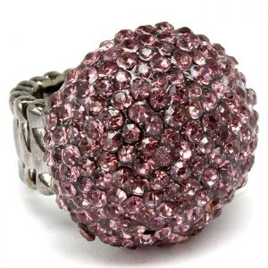 Round-Half-Ball-Stretch-Cocktail-Ring-Rose-Pink-Crystals-Size-7-to-9-172045445285