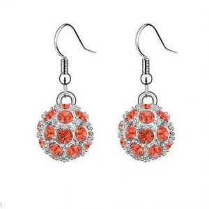 Silver-Tone-Very-Small-Globe-Earrings-Orange-Crystals-For-Pierced-Ears-360860866375