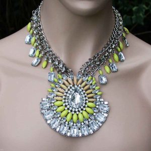 Statement-Necklace-Clear-Rhinestones-Lime-Yellow-Lucite-Beads-Pageant-361658946095