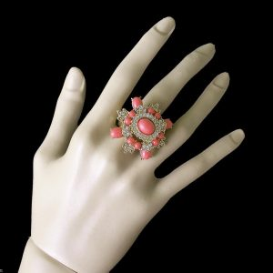 Stretch-Cocktail-Ring-Salmon-Lucite-Clear-Crystals-Drag-Queen-Pageant-361527941335