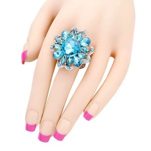Stretchable-Cluste-Cocktail-Ring-Pool-Turquoise-Blue-Glass-Drag-Queen-Pageant-361921805685