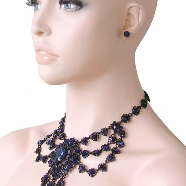 Victorian Look Necklace Set Montana Blue Rhinestones, Drag Queen, Pageant, Goth