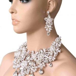 White-Faux-Pearl-Clear-Crystals-Statement-Necklace-SetBridalPageantDrag-Queen-362030948485