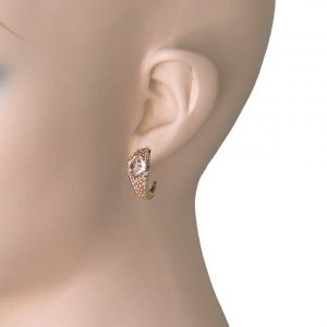 075-Long-Light-Peach-Nude-Crystals-Huggie-Earrings-Pierced-Bright-Gold-tone-361964931616