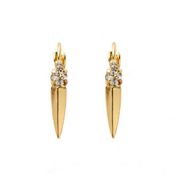 "1"" Drop Bright Gold Tone Clear Crystals Leverback Earrings By Sorrelli, Bridal"