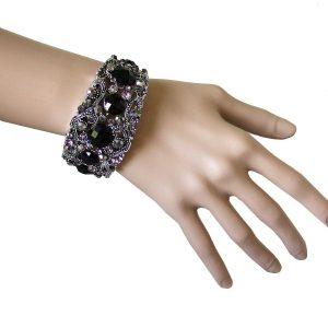 15-W-Black-Lucite-Hematite-Rhinestones-Bangle-Cuff-Bracelet-Pageant-Goth-172260582496
