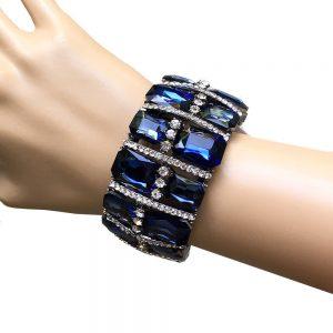 15-Wide-Glass-Montana-Navy-Blue-Glass-Stretch-Bracelet-Drag-Queen-Pageant-172674697366