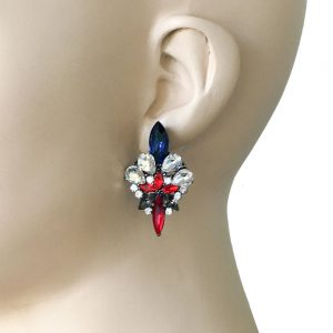 175-Drop-ClearRed-Navy-Rhinestones-Turkish-Style-Earrings-Pageant-172676658826