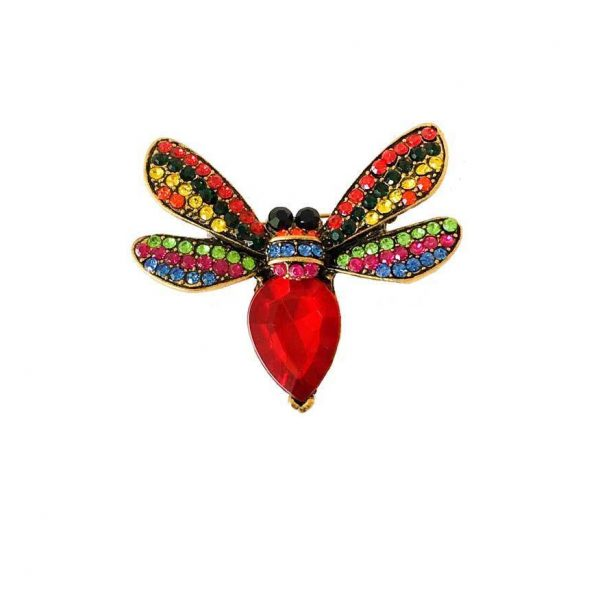 "1.75"" Wide Insect Bee Fly Pin, Red Glass & Rhinestones, Antique Gold Tone"