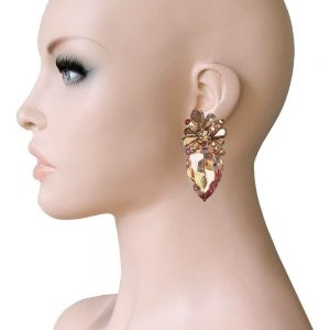 2-Drop-Peachy-Champagne-Crystals-Clip-On-earrings-Pageant-Drag-QueenBridal-361940581426
