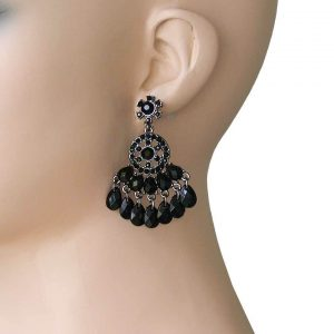 2-Long-Chandelier-Earrings-Black-Rhinestones-Lucite-Beads-Pierced-172541305886