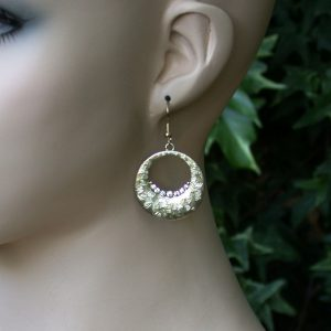 2-Long-Classic-Antique-Gold-Tone-Hoop-Earrings-Gray-Crystals-Pierced-Ears-170903099366