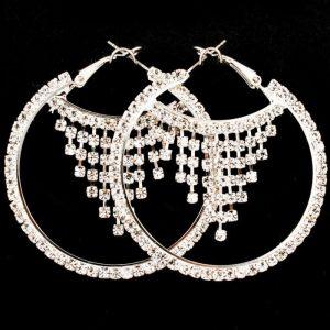 2-Long-Hoop-Earrings-Clear-Crystals-Bridal-Pageant-Drag-Queen-Pierced-Ears-171994106306