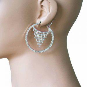 2-Long-Hoop-Earrings-Clear-Crystals-Bridal-Pageant-Drag-Queen-Pierced-Ears-172867576166