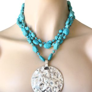 2-Strand-Reconstructed-Turquoise-Blue-Statement-Necklace-Silver-Tone-Medallion-172810117516