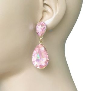 225-Long-Rose-Pink-Glass-Classic-Teardrop-EarringsPageant-Bridal-Drag-Queen-361963883876