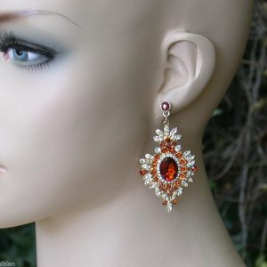 25-Long-Timeless-Victorian-Style-Honey-Brown-Clear-Crystal-earrings-Pageant-361424887786