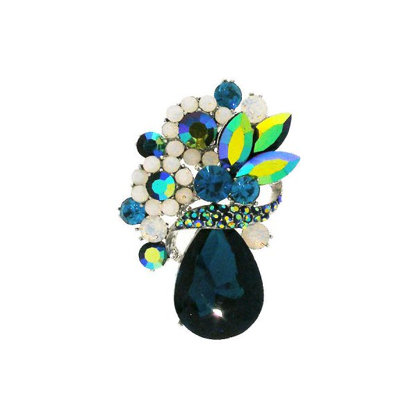 "2.5"" Tall Dark Teal Blue Crystals Cluster Brooch, Fake Opal Pin, Pageant,Bridal"