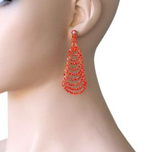 275-Drop-Cascade-Earrings-Orange-Rhinestones-Pageant-Gold-tone-Pierced-Ears-172366512196
