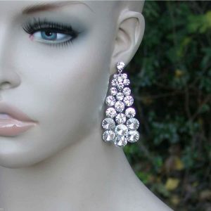275-Long-Clear-Glass-Cascade-Earrings-Pageant-Drag-Queen-Pierced-Ears-172225750746