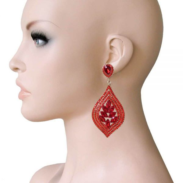 """3"""" Long Cluster Clip On Earrings, Vivid Red Rhinestones,Drag Queen,Pageant"""