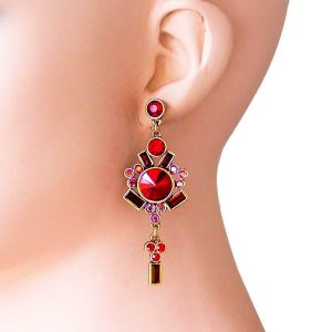 3-Long-Red-Crystals-Glass-Deco-Inspired-Earrings-Linear-For-Pierced-Ears-172419781616