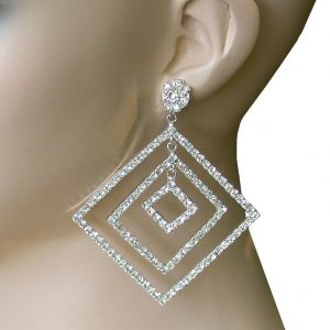 325-Long-Clear-Rhinestones-Square-Hoop-Statement-Earrings-Pageant-Drag-Queen-172768038656