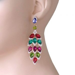 325-Long-Leaf-Shape-Evening-Earrings-Multicolor-Crystals-PageantDrag-Queen-172827931436