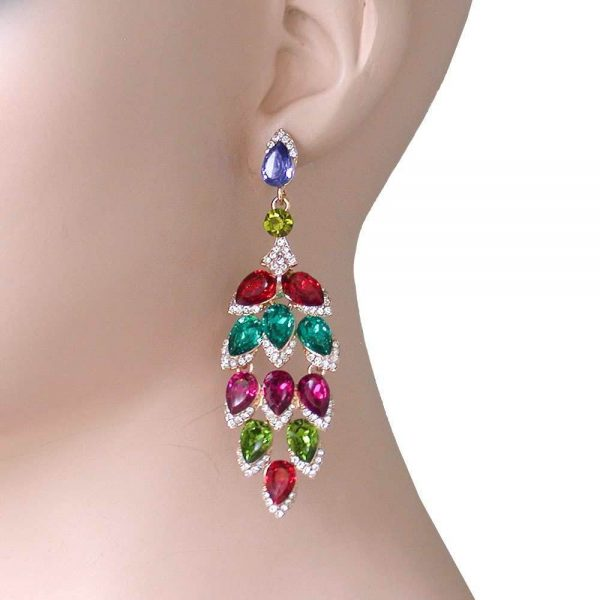 """3.25"""" Long, Leaf Shape Evening Earrings, Multicolor Crystals, Pageant,Drag Queen"""