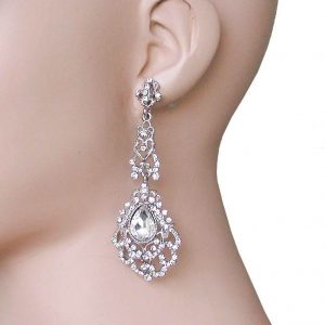 325-Long-Silver-Tone-Filigree-Earrings-Clear-Crystals-Pageant-Bridal-361882833816