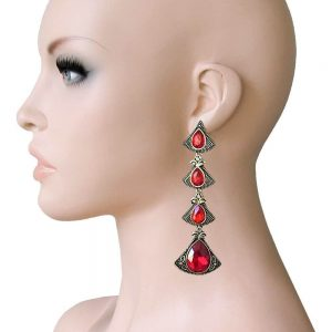 35-Long-Deco-Inspired-Red-Rhinestones-Earrings-Pageant-Drag-Queen-362071501526