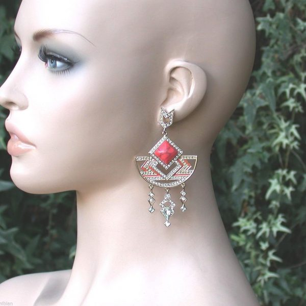 "3.5"" Long Salmon Peach Coral Lucite & Crystals Earrings,Pageant, Drag Queen"