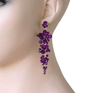 375-Long-Purple-Rhinestones-Earrings-Pageant-Drag-Queen-Bridal-172354114606