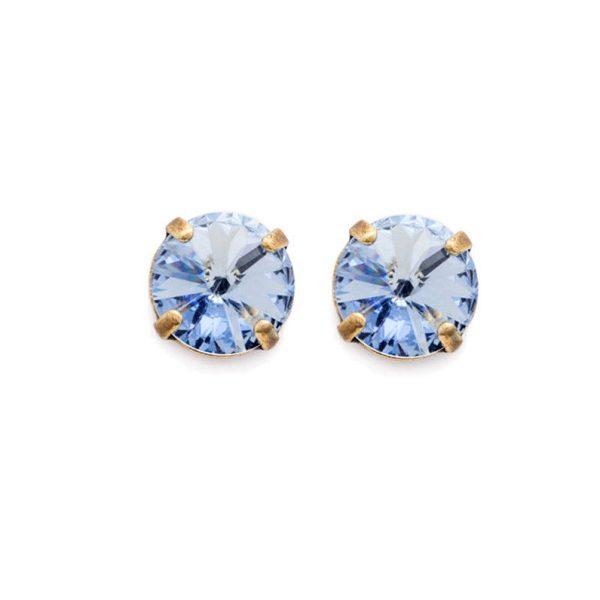 "3/8"" Drop Light Cobalt Baby Blue Crystals Stud Earrings By Sorrelli, Bridal"