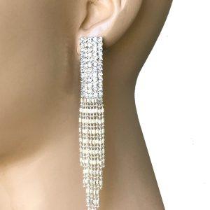 425-Long-Silver-Tone-Fringe-Earrings-Clear-Rhinestones-Pageant-Bridal-172813210276