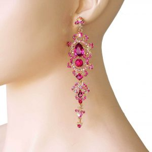 45-Long-Classy-Fuchsia-Crystal-earrings-Pageant-Drag-Queen-361742537626