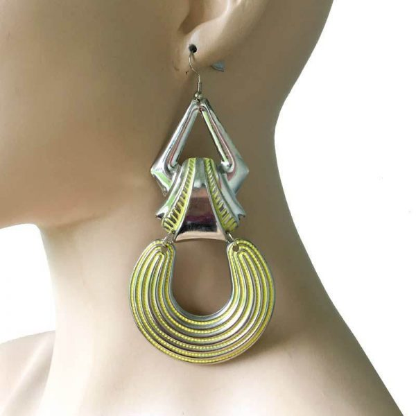 "4.5"" Long Yellow Enamel, Silver Tone Geometric, Ethnic, BOHO Style Earrings"