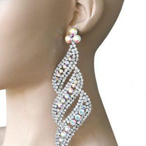 5-Long-Earrings-Aurora-Borealis-Clear-Rhinestones-BridalPageantDrag-Queen-362046352446