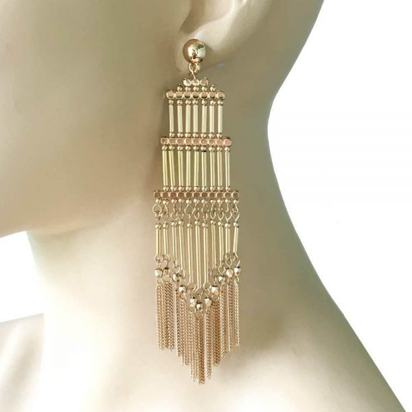 """5"""" Long Gold Tone BOHO, Ethnic Cascade Statement Earrings,Drag Queen, Pageant"""
